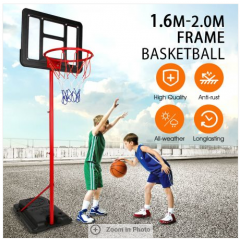 1.6m-2m Kids Portable Basketball Hoop Stand System w/Adjustable Height Net Ring Ball