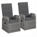 Reclining Garden Chairs 2 pcs with Cushions Poly Rattan Grey