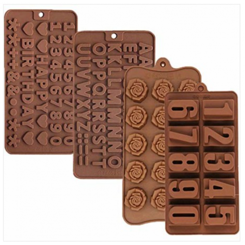 6PCS Alphabet and Number Molds, Flower Shape, ANIMALS, INSECTS, Silicone Molds Chocolate Candy Mold for Wedding,Festival, Birthday Party