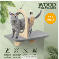 AFP Cat Wall Mounted Shelf Climber Perch Step Climbing Furniture Self Grooming Feather Toys