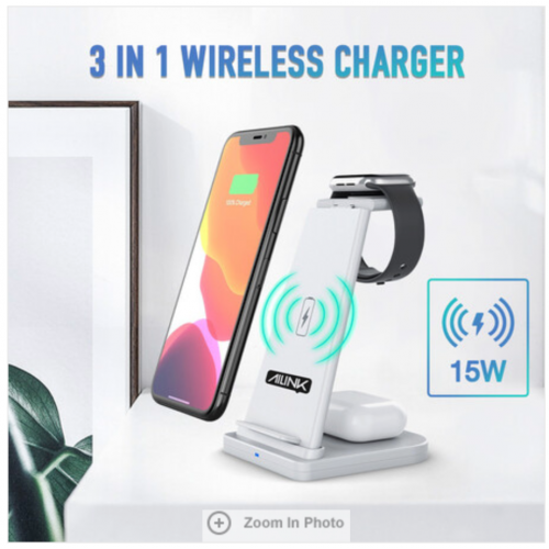 3-in-1 Folding Wireless Charger Charging Station for Apple and Samsung Phones, iWatch and AirPod White