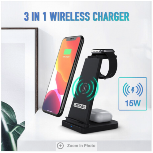 Foldable 3-in-1 Wireless Charger Stand Charging Station for Apple and Samsung Phone, iWatch and AirPods Black