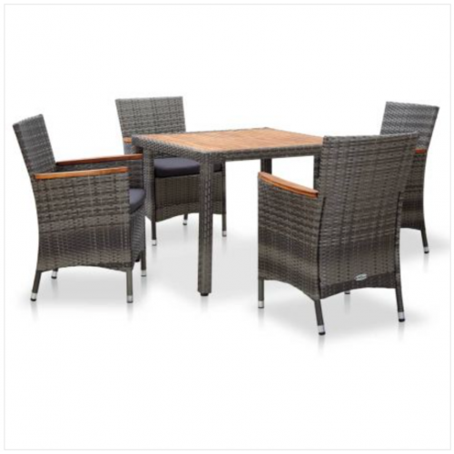 5 Piece Garden Dining Set with Cushions Poly Rattan Grey